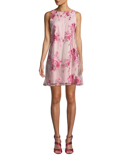 Floral-Embroidered A-Line Dress