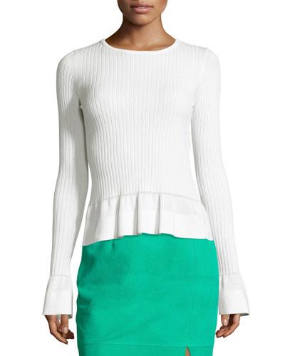 Ribbed Knit Peplum Top, White