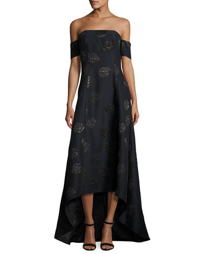 Off-the-Shoulder Embroidered High-Low Gown, Lapis