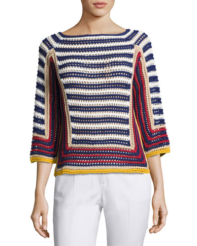 3/4-Sleeve Striped Crocheted Cotton Sweater