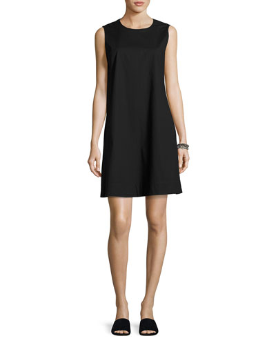 Sleeveless Stretch Poplin Shift Dress