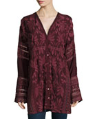 Cam Long-Sleeve Embroidered Tunic, Petite