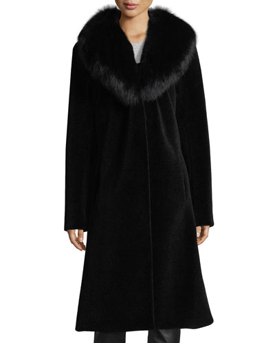 Long Single-Button Sheep Fur Coat w/ Fox Collar