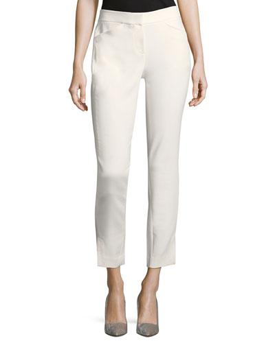 Straight-Leg Ankle Cotton-Blend Pants