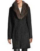 Suede Shearling Long Coat w/ Fox Fur Trim