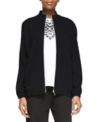 Mock-Neck Zip-Front Jacket, Petite