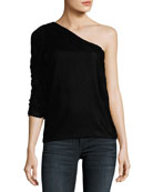 Wayman One-Shoulder Velvet Top