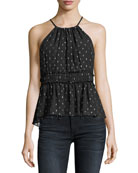 Shawnette Halter Silk Chiffon Blouse with Metallic