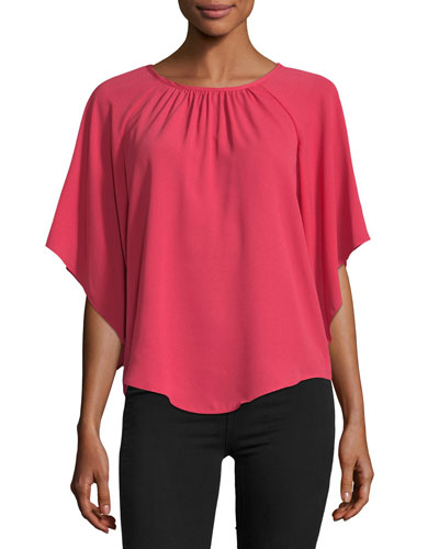 Angel-Sleeve Crepe Blouse