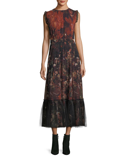 Sleeveless Winter Rust Floral Maxi Dress