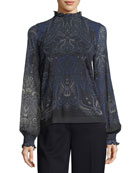 Long Poet-Sleeve Paisley Tulle Top
