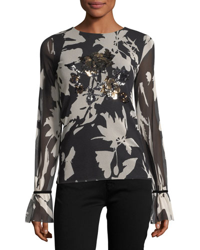 Long-Sleeve Sequin-Trimmed Floral Tulle Tee