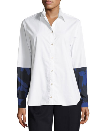 Long-Sleeve Button-Front Poplin Shirt w/ Floral Combo
