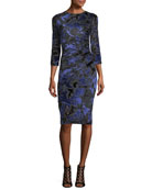 3/4-Sleeve Floral Velvet Burnout Sheath Dress
