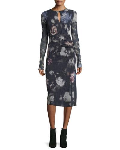 Long-Sleeve Menswear Floral Keyhole Dress
