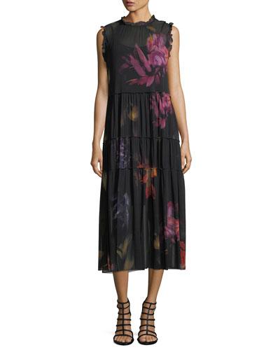 Sleeveless Tiered Floral Tulle Midi Dress
