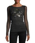 Long-Sleeve Sequin-Trimmed Tulle Tee