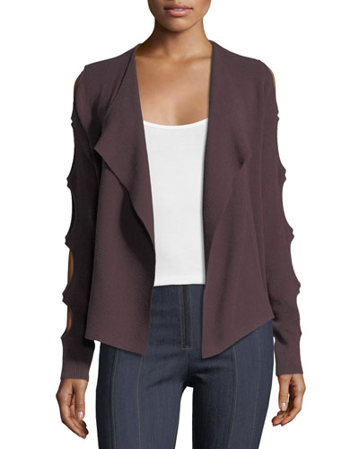 Cutout-Sleeve Open-Front Cardigan