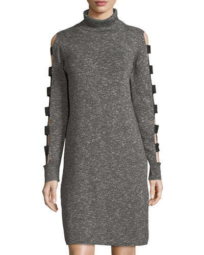Caged-Sleeve Turtleneck Sweater Dress