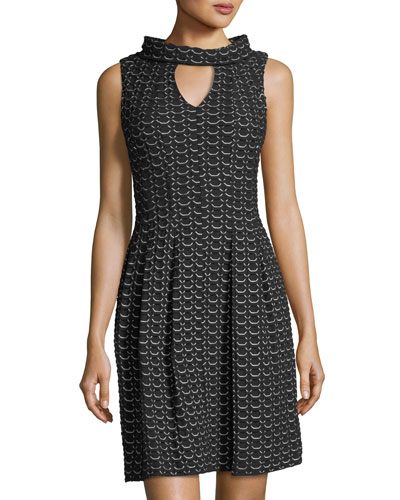 Knit-Jacquard Keyhole Dress