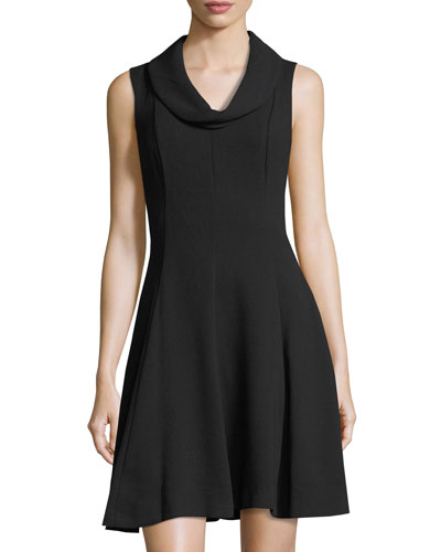 Cowl-Neck Crepe Dress