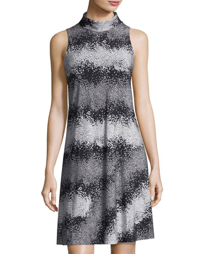 High-Neck Printed Jersey Dress