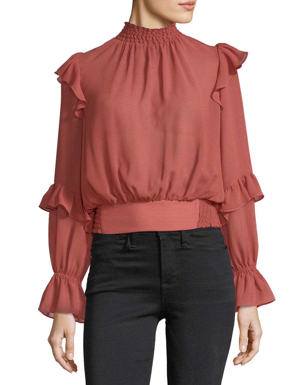 High-Neck Long-Sleeves Ruffled Smocked Chiffon Top