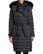 Dalmerton Double-Breasted Puffer Coat w/ Fur-Trim Hood