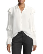 Victorian Ruffled Button-Front Silk Blouse