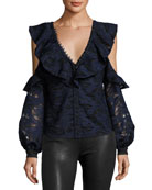 Camo Lace Button-Front Cold-Shoulder Frill Top