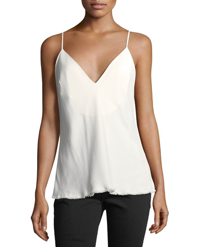 V-Neck Bias-Cut Satin Tank