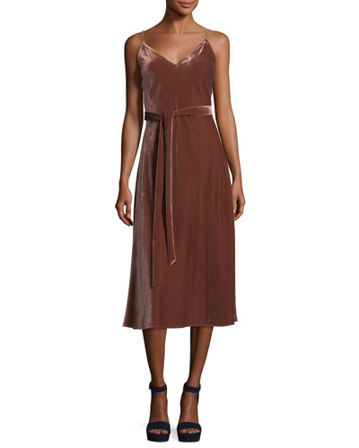 Velvet V-Neck Sleeveless Midi Slip Dress