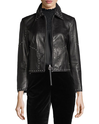 Studded Motorcycle Lamb Leather Jacket