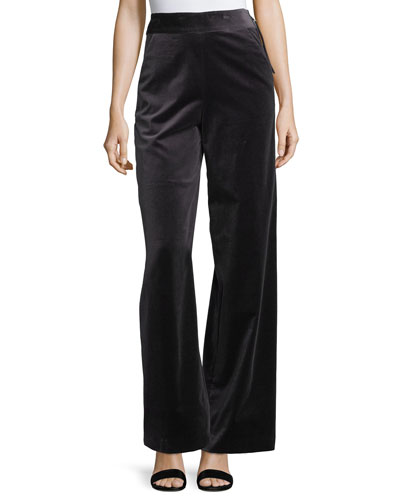 Velvet High-Waist Wide-Leg Pants