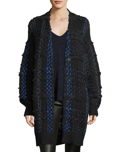 Dawson Woven Snap-Front Oversized Cardigan Coat
