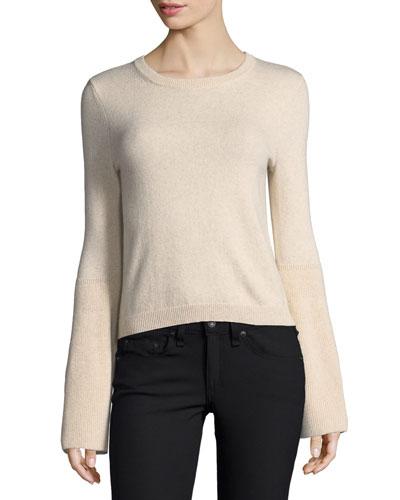 Parson Crewneck Bell-Sleeve Pullover Sweater