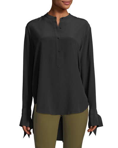 Dylan Long-Sleeve Silk Blouse w/ Tie Cuffs