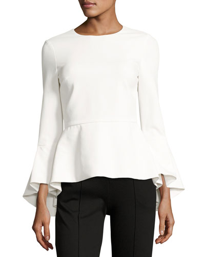 Ruby High-Low Peplum Crepe Top