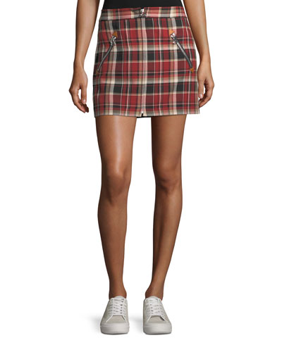 Leah Cotton Plaid Mini Skirt w/ Leather Trim