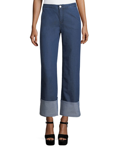 High-Waist Chambray Cuffed Pants