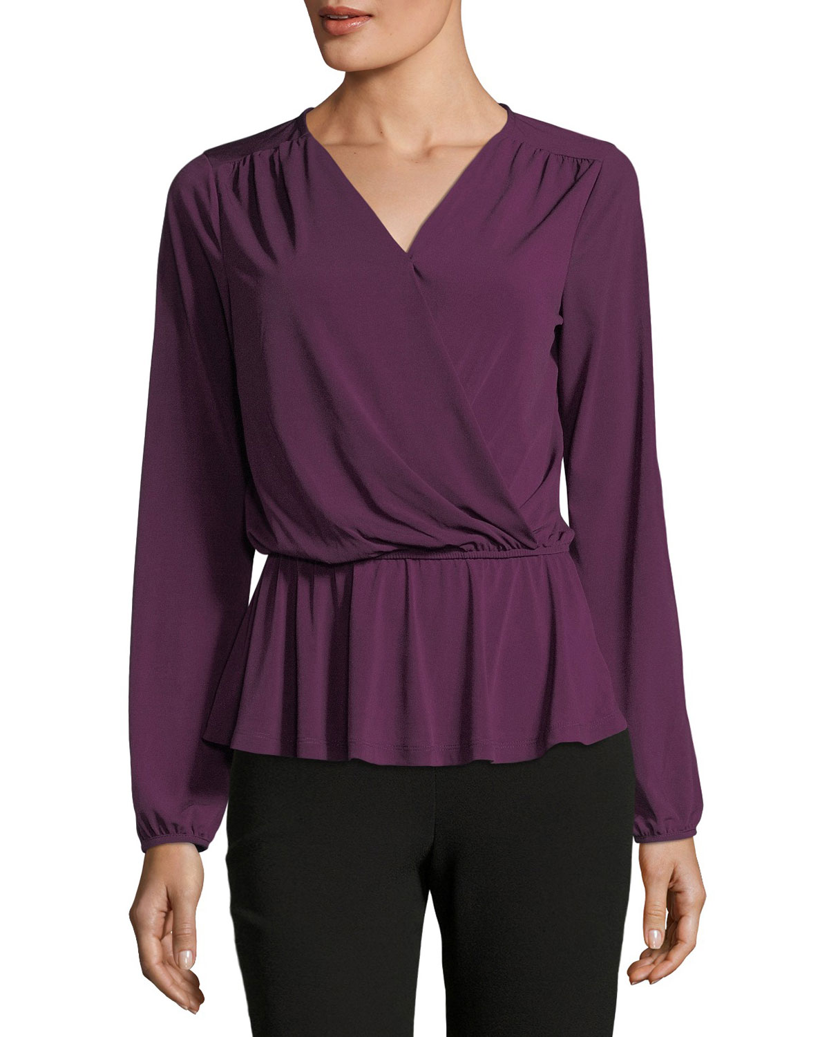 Bella Faux-Wrap Knit Blouse
