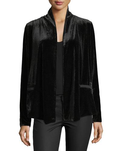Isabeli Open-Front Velvet Jacket