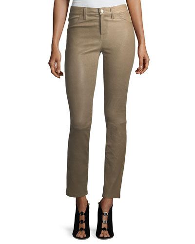 Maude Mid-Rise Cigarette Lamb Leather Pants