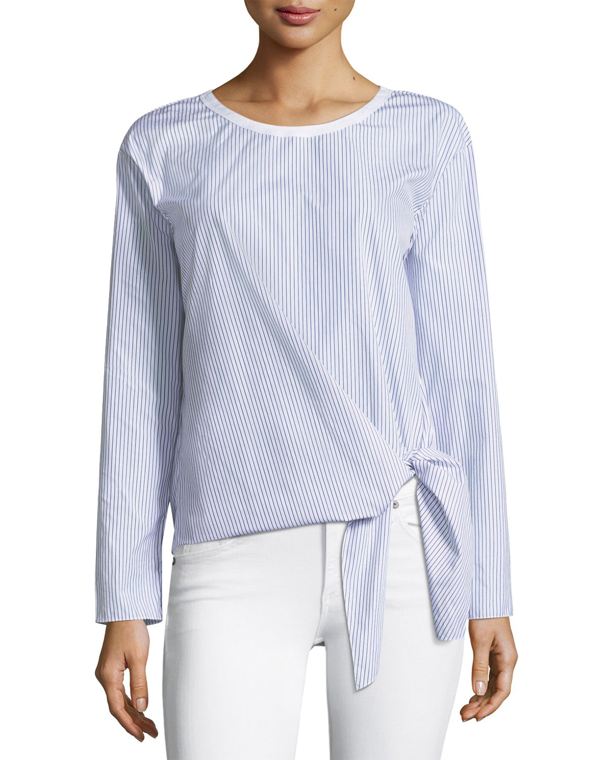 Serah Chilmark Tie-Hem Striped Poplin Top
