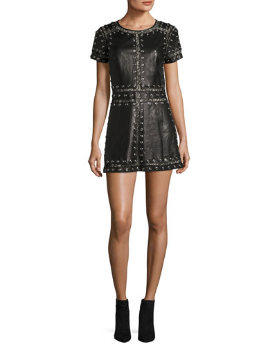 Tahlia Short-Sleeve Studded Leather A-line Mini Cocktail Dress