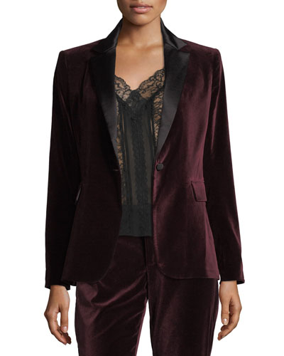 Macey Notched-Collar Tailored Velvet Blazer