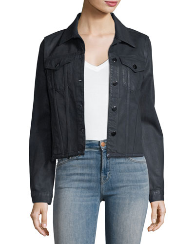 Coated Slim Button-Front Denim Jacket w/ Raw Hem