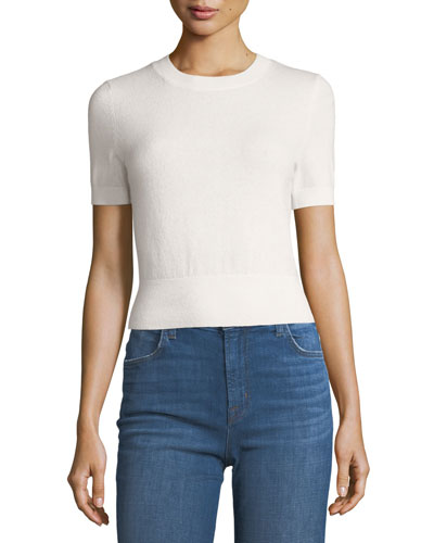 Briony Crewneck Short-Sleeve Cashmere Sweater