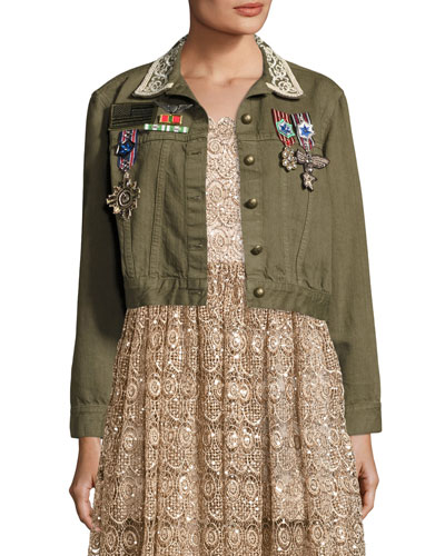 Chloe Embroidered Cropped Army Jacket w/ Pins