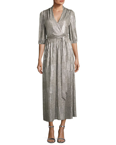Katina Metallic Midi Cocktail Wrap Dress